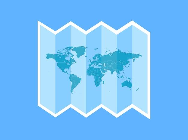 Une icône de voyage blanche à travers le monde