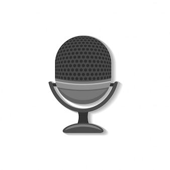 Icône web rétro microphone au design plat avec ombre.