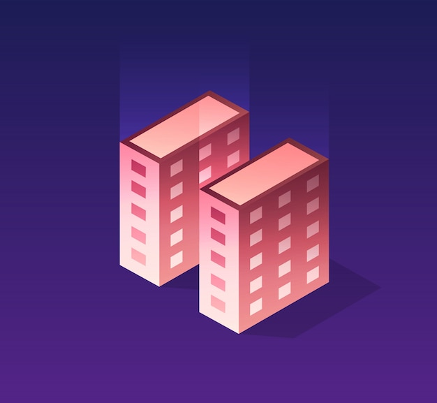 Icône web ville isométrique
