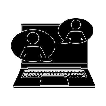 Icône de webinaire en direct communication en ligne chat support client