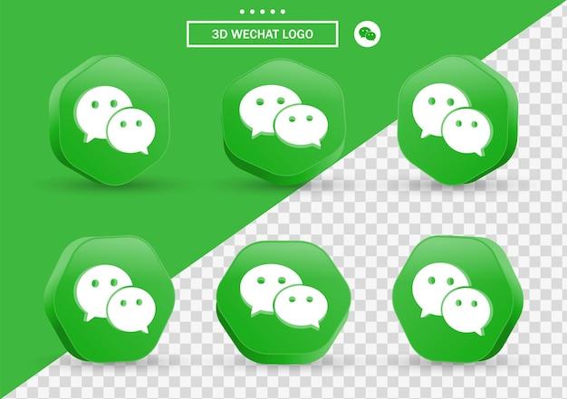 Icône wechat 3d dans un cadre de style moderne et un polygone pour les logos d'icônes de médias sociaux