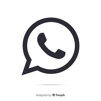 Icône whatsapp noir et blanc
