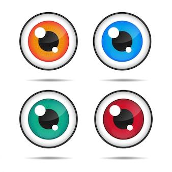 Icône des yeux. yeux bleus avec de beaux yeux scintillants.