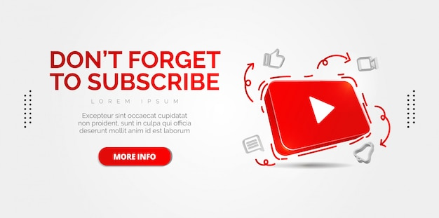 Icône youtube 3d illustration conceptuelle abstraite isolée sur blanc.