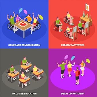Icônes 2x2 isométriques colorées définies avec des gens à l'école avec l'éducation inclusive 3d isolé
