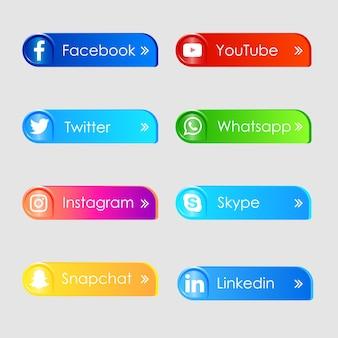 Icônes 3d De Médias Sociaux Vecteur Premium