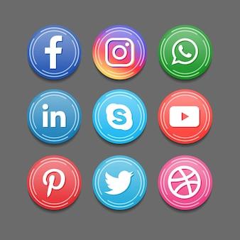 Icônes 3d rondes de badge d'application de médias sociaux
