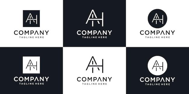 Icônes abstraites pour le modèle de conception de logo d'icône de lettre ah ah