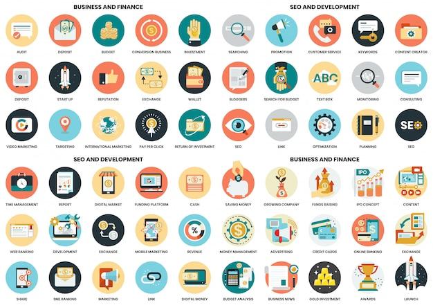 Icônes d'affaires définies pour les affaires, le marketing, la gestion