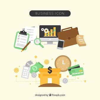 Icônes D'affaires Définies Vecteur gratuit