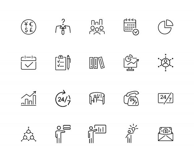 Icônes d'affaires. ensemble de vingt icônes de ligne. présentation, gestion du temps, graphiques.