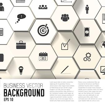 Icônes d'affaires sur fond abstrait avec champ de texte plat