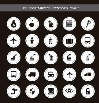 Icônes d'affaires et de transport sur le vecteur de fond noir