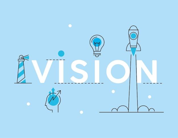 Icônes d'affaires de vision