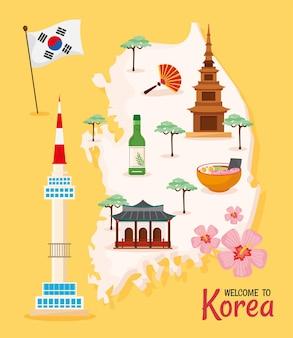 Icônes d'affiche de la culture coréenne
