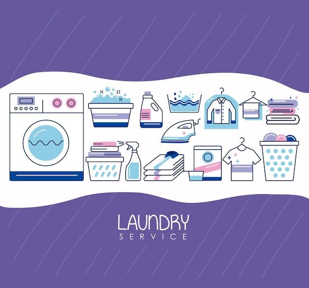 Icônes d'affiche de lettrage de service de blanchisserie
