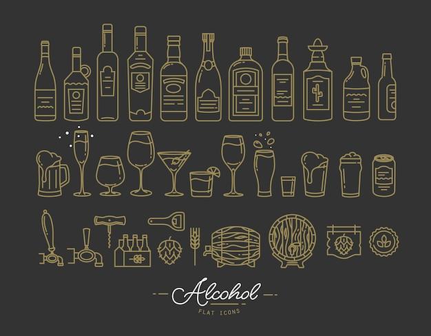 Icônes d'alcool plat or