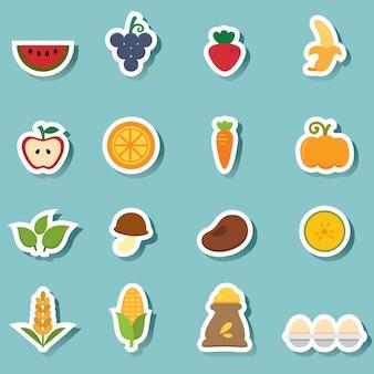 Icônes d'aliments naturels biologiques