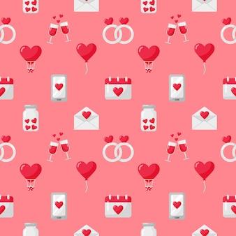 Les icônes de l'amour et de la saint-valentin définissent un motif transparent isolé sur rose