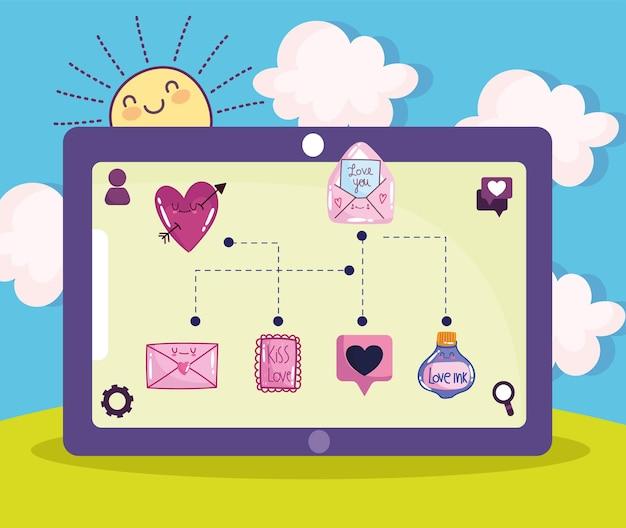 Icônes d'amour tablette mignon