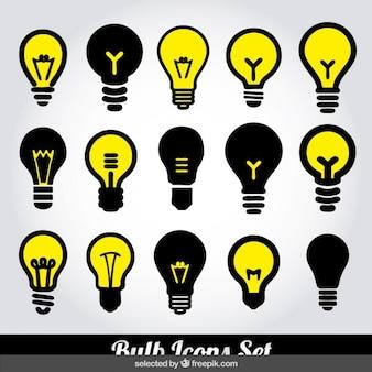 Icônes d'ampoules fixées