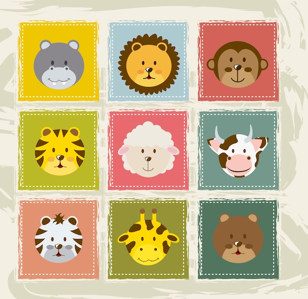 Icônes d'animaux au cours de l'illustration vectorielle fond vintage
