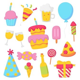 Icônes d'anniversaire fête célébration carnaval articles de fête isolés sur fond blanc