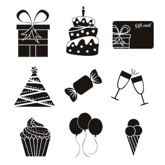 Icônes d'anniversaire noir sur illustration vectorielle fond blanc
