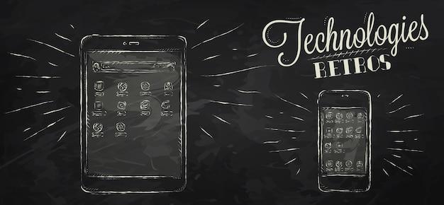 Icônes sur appareil de tablette mobile de technologie moderne dans le dessin stylisé de style vintage à la craie sur fond de tableau