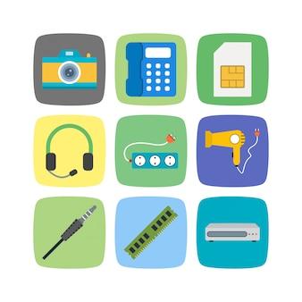 Icônes d'appareils électroniques isolés sur blanc
