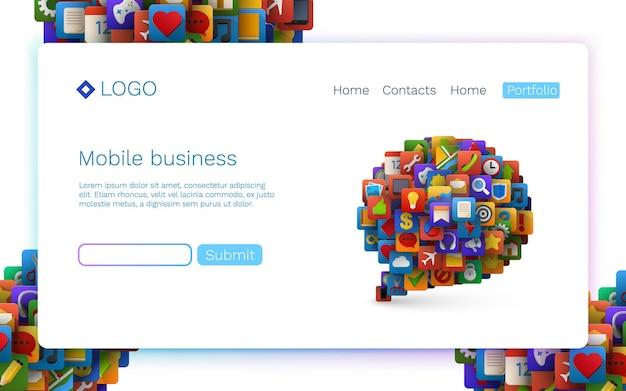Icônes d'application sous forme de signe de bulle de chat. technologie mobile. concept de page de destination.