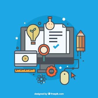 Icônes d'apprentissage en ligne