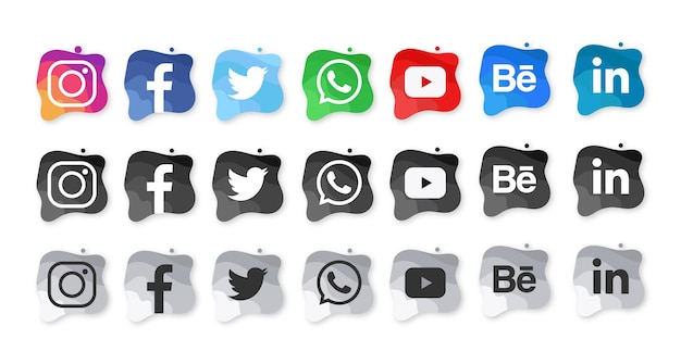 Icônes d'aquarelle de médias sociaux modernes