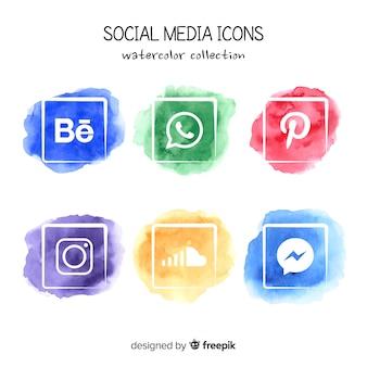 Icônes aquarelle de médias sociaux