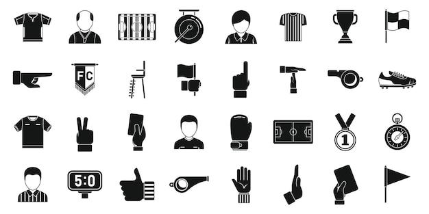 Les icônes d'arbitre de football définissent un vecteur simple. match de football. sifflet d'arbitre