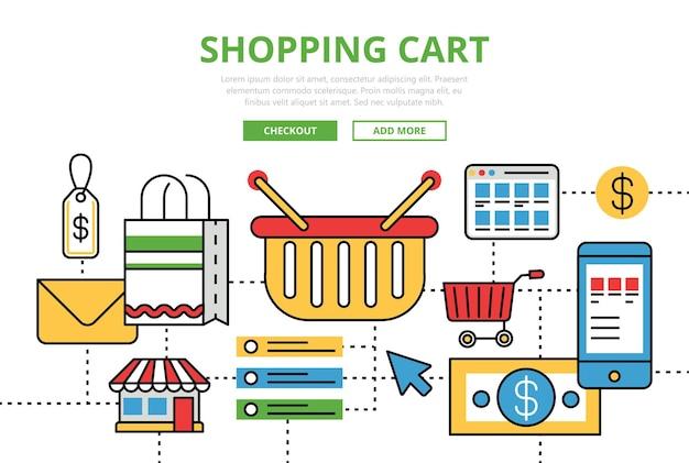 Icônes d'art de ligne plate de concept de panier d'achat