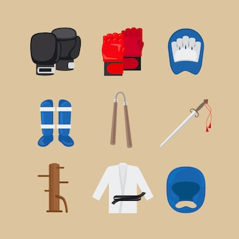 Icônes d'arts martiaux ou vecteur de signes de sports de combat