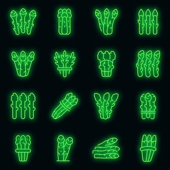 Icônes d'asperges définies vecteur néon