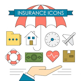 Icônes d'assurance linéaire et éléments d'affaires fonds colorés