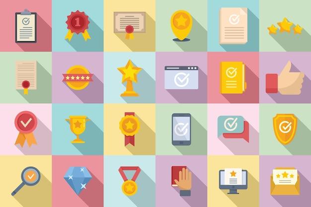 Les icônes d'assurance qualité définissent un vecteur plat. examen de certificat. conformité universitaire