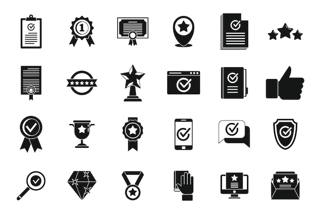 Les icônes d'assurance qualité du certificat définissent un vecteur simple. croissance de l'examen. conformité universitaire