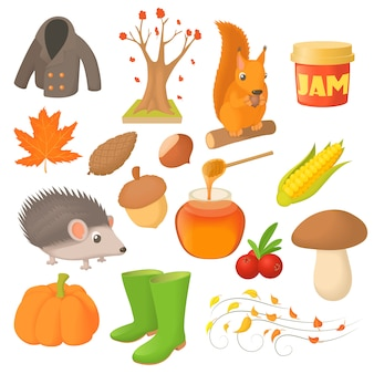 Icônes d'automne en style cartoon