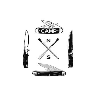 Icônes d'aventure de camping vintage dessinés à la main