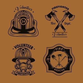Icônes de badges de pompier