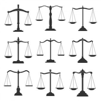 Icônes de balance, droit de la justice, notaire et avocat. échelles des symboles du tribunal de justice judiciaire, de l'avocat et du tribunal juridique, du plaidoyer, du notaire et de la jurisprudence, des signes des avocats des droits civils