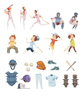 Icônes de baseball définies dans un style rétro bande dessinée avec des équipements sportifs hommes et enfants