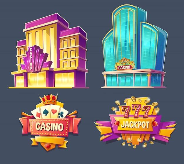 Icônes des bâtiments de casino et des panneaux