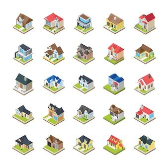 Icônes de bâtiments de maisons