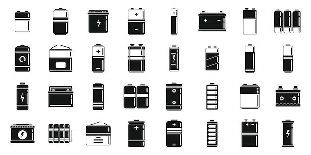 Les icônes de batterie au lithium définissent un vecteur simple. recharge alcaline. cellule d'électricité