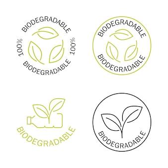 Icônes biodégradables icône de bouteille en plastique avec des feuilles vertes se transforme en concept végétal